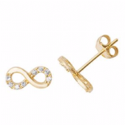 9Ct Gold cubic zirconia infinity Stud Earrings